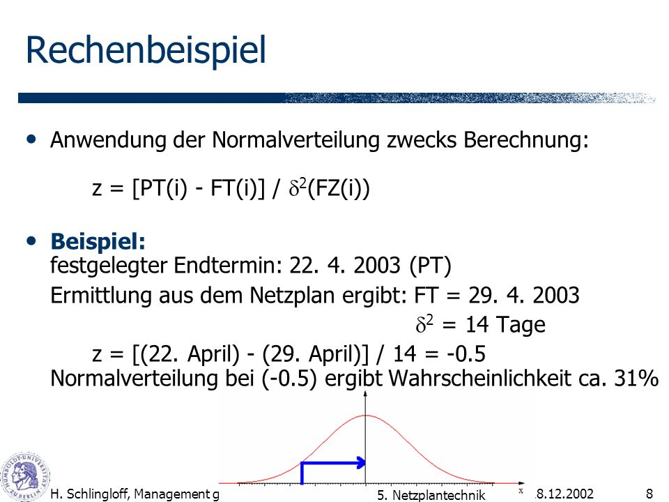 Rechenbeispiel Anwendung der Normalverteilung zwecks Berechnung: z = [PT(i) - FT(i)] / d2(FZ(i))